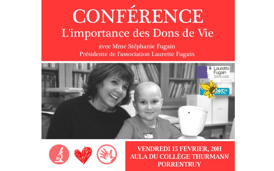 Conférence «L'importance des Dons de Vie» – Stéphanie Fugain