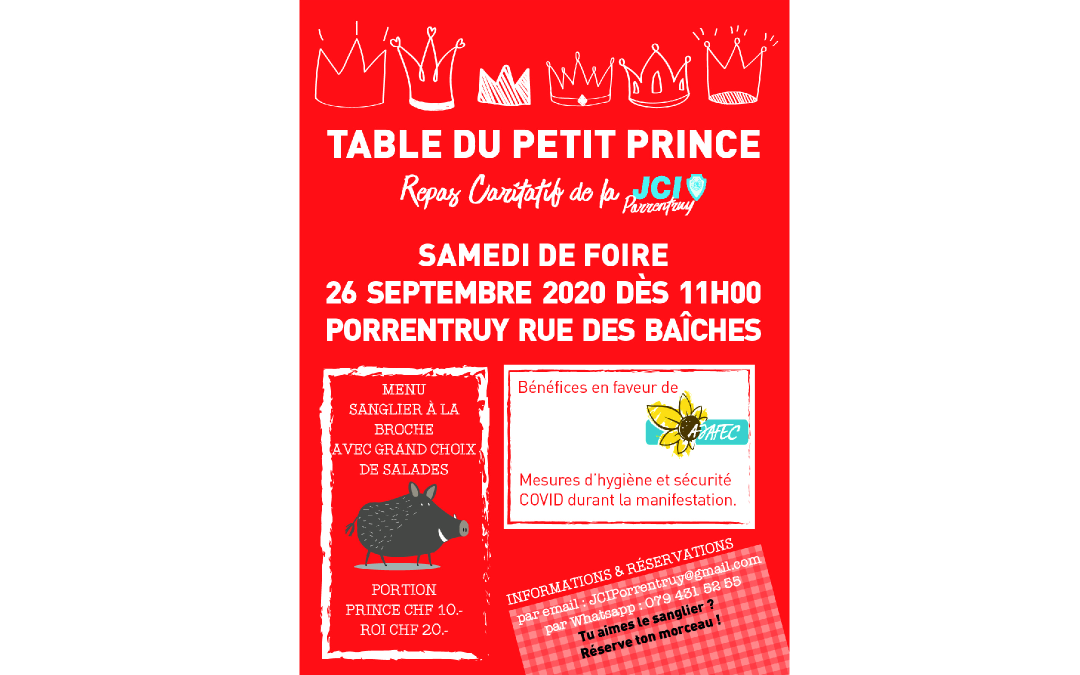 26 septembre 2020 – Table du Petit Prince – JCI Porrentruy