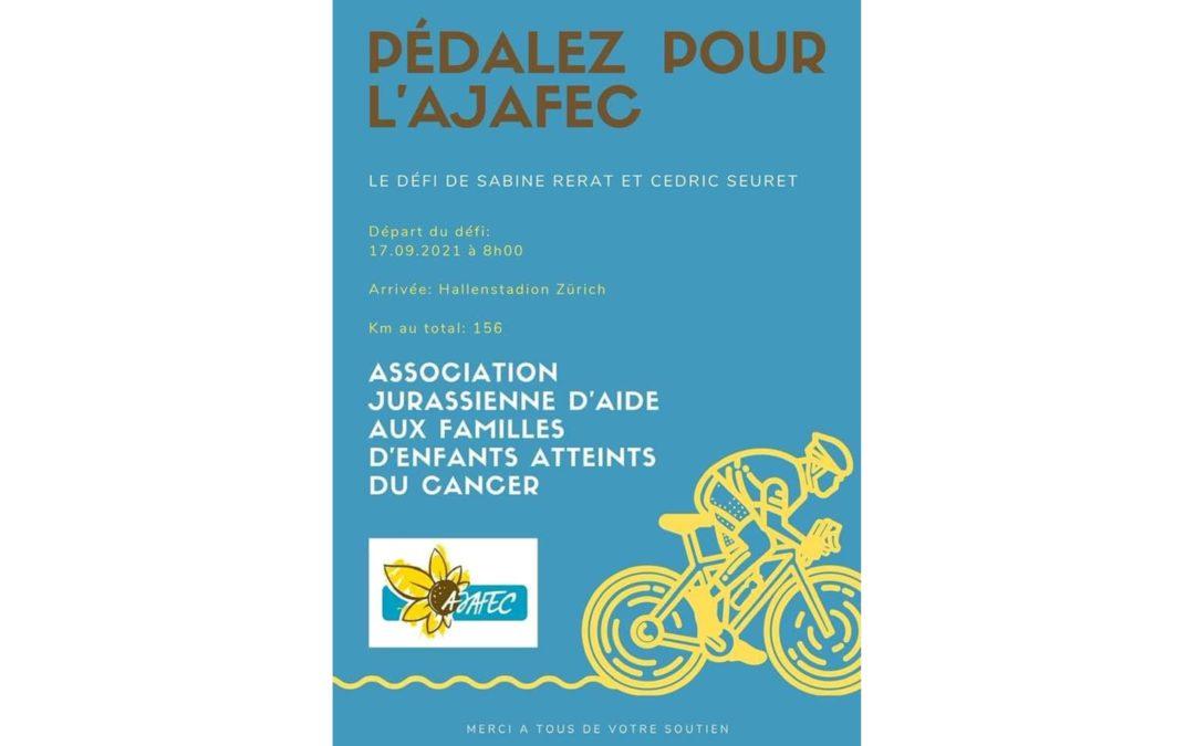 Pédaler pour l'AJAFEC – Défi sportif de Cédric Seuret et Sabine Rérat