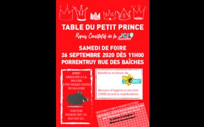 26 septembre 2020 – Table du Petit Prince – JCI Porrentruy